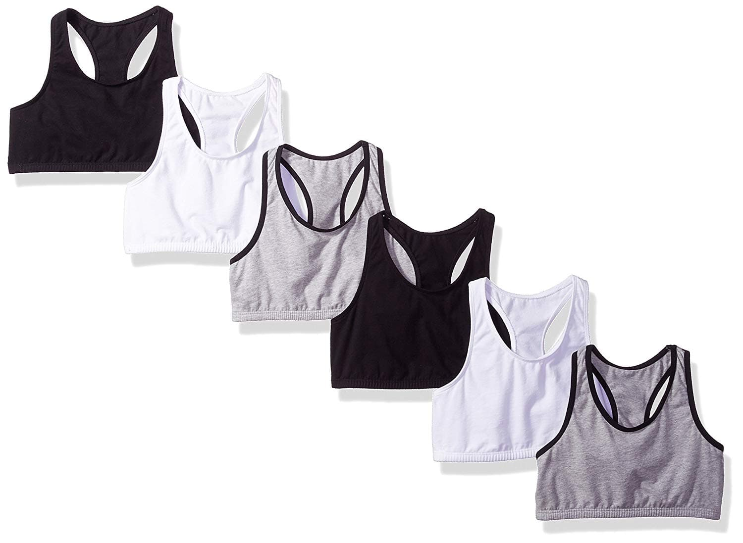 6-Pack Fruit of the Loom Big Girls' Cotton Built-Up Sport Bra $9.98 - Amazon