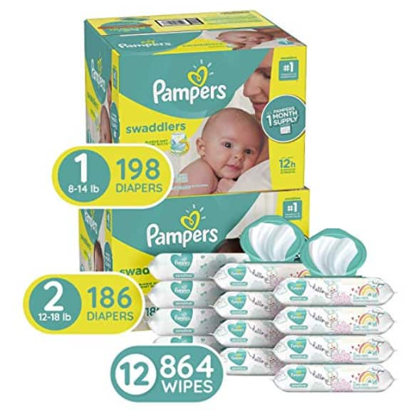 Pampers Diaper Bundle - Size 1 198-Ct. | Size 2 186-Ct. | Baby Wipes 12 Pkgs. (864 Wipes) $98.25 AC - Amazon