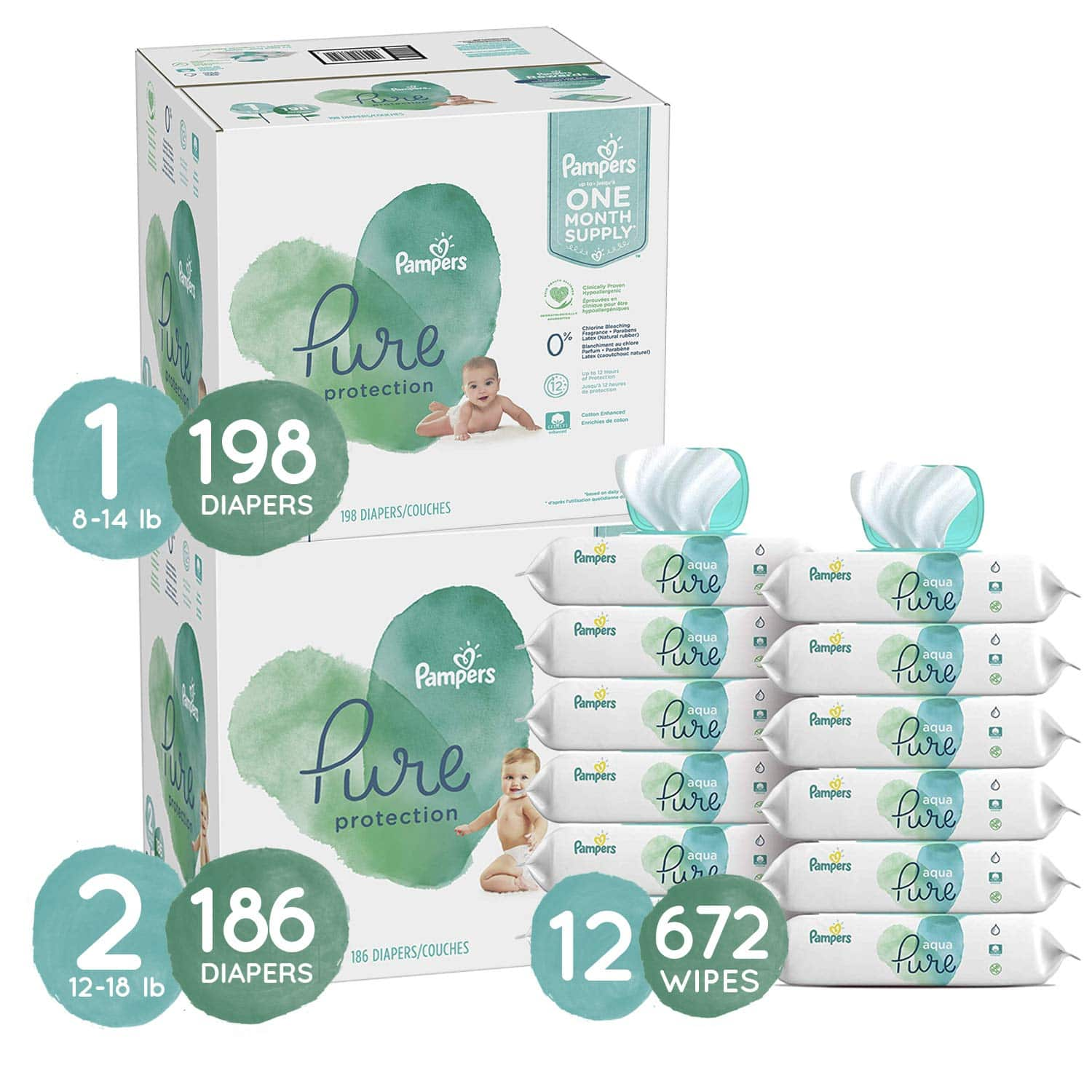 Pampers Pure Diapers and Wipes Bundle - Size 1 198-Ct.   Size 2 186-Ct.   12-Pkgs. Aqua Pure Wipes (672 Wipes) $112.50 AC - Amazon