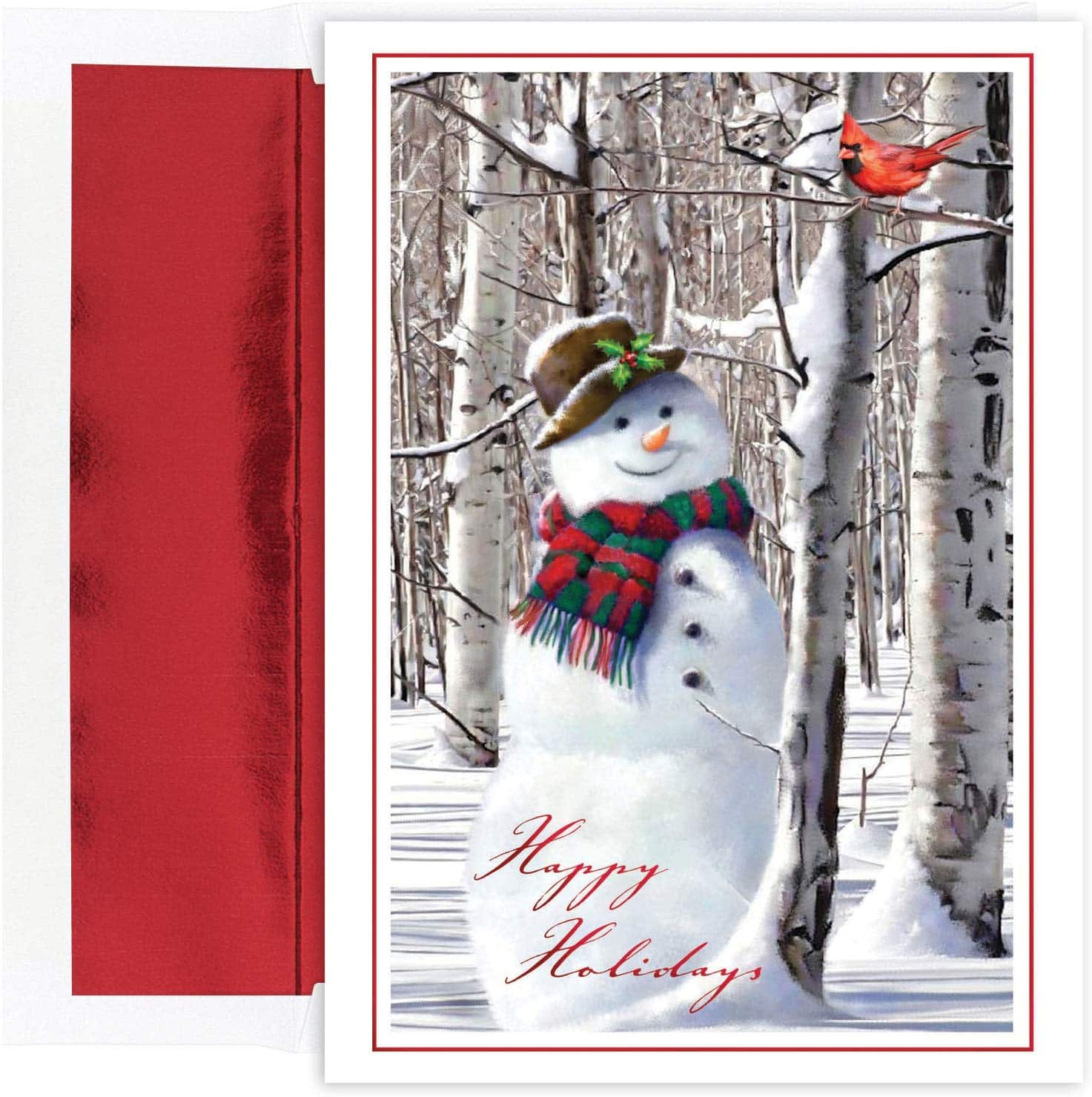 18 Deluxe Cards - Masterpiece Studios (Snowman with Cardinal) w/Foiled Lined Envelopes (5x7) $4.75 - Amazon