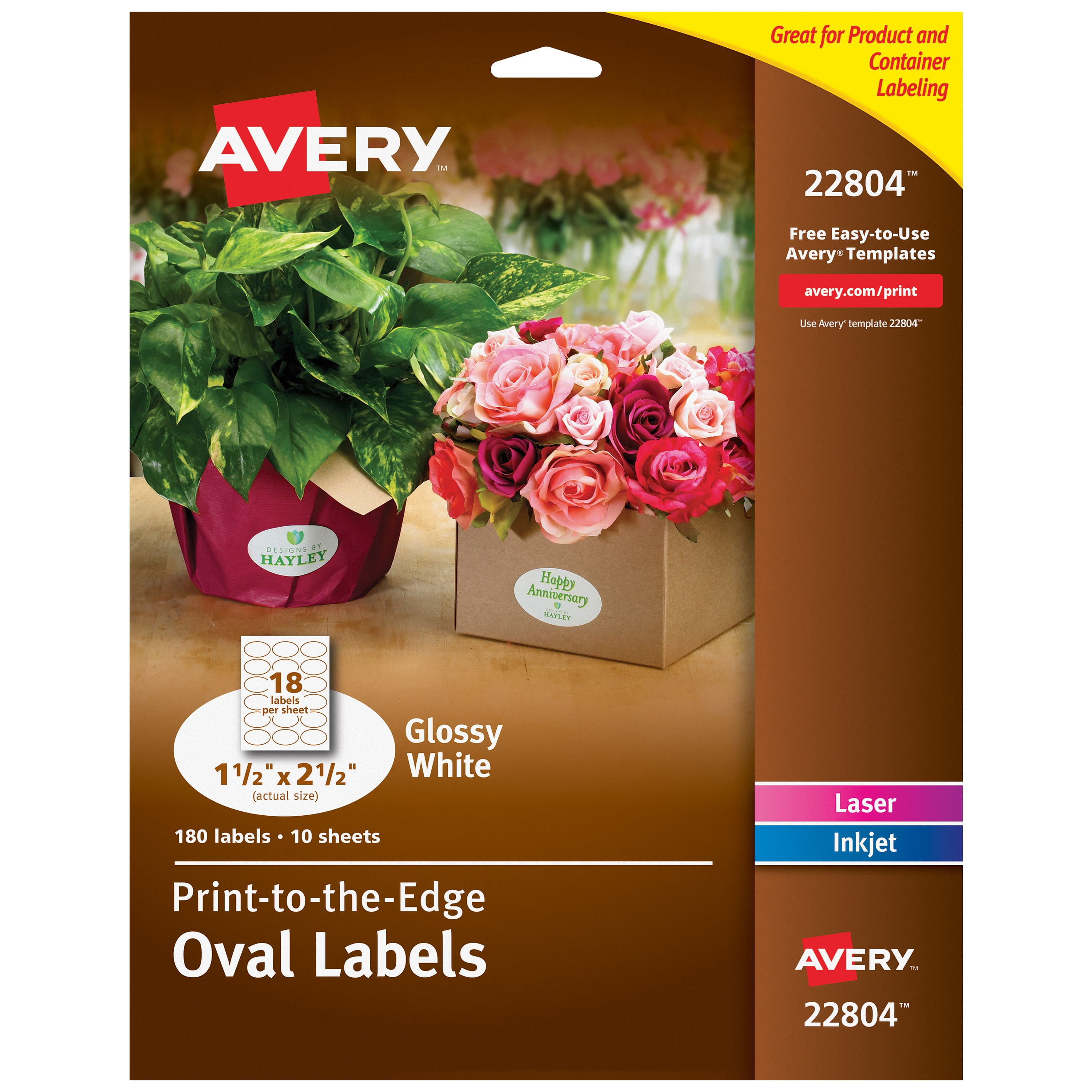 photograph about Printable Labels Walmart called Avery Oval Labels, 1.5\