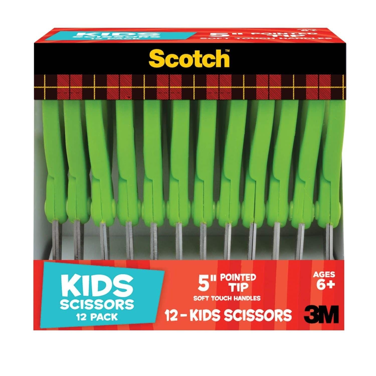 "12-Ct. Scotch 5"" Soft Touch Pointed Kid Scissors (Green) $6.45 Walmart / Amazon"