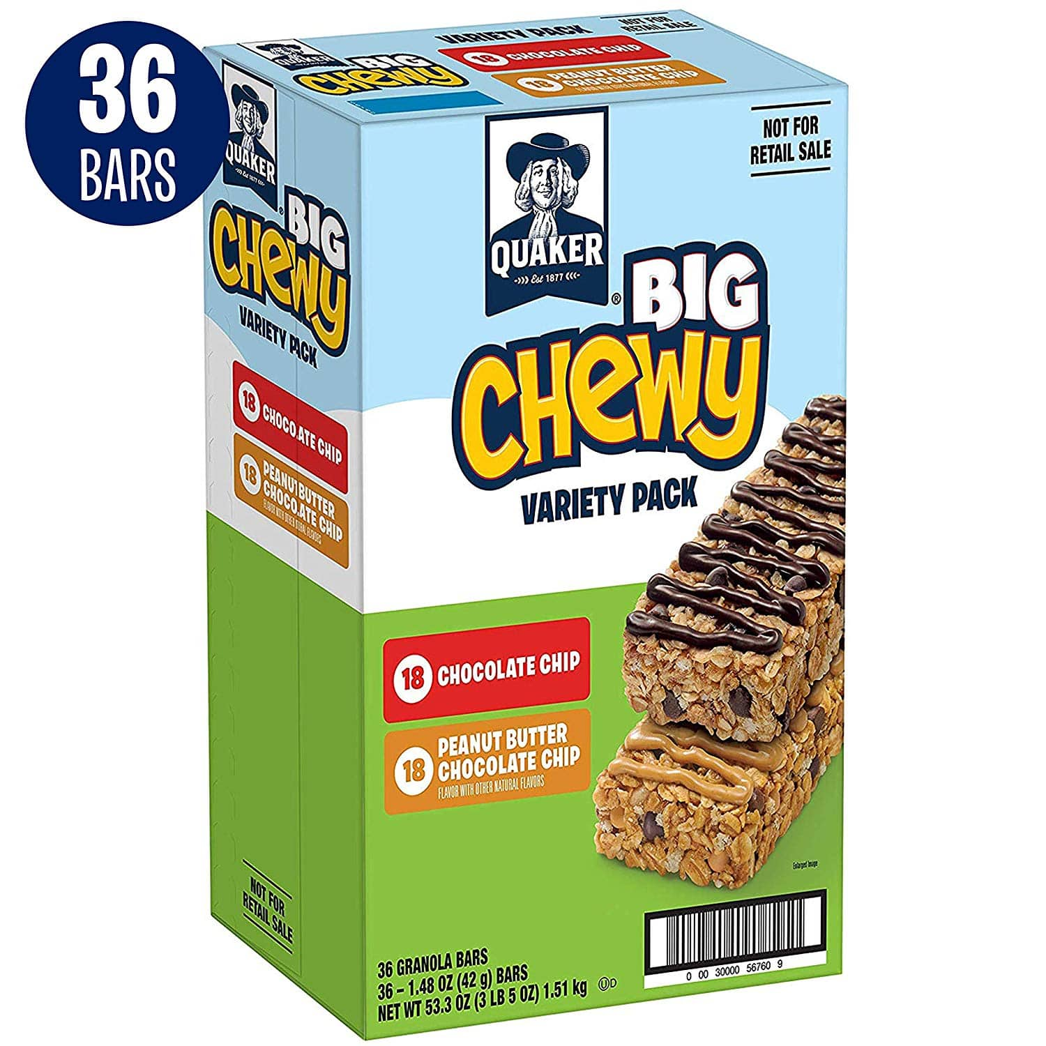 36-Count Quaker Big Chewy Bars Variety Pack $9.56 5% or $8.29 15% AC ws&s