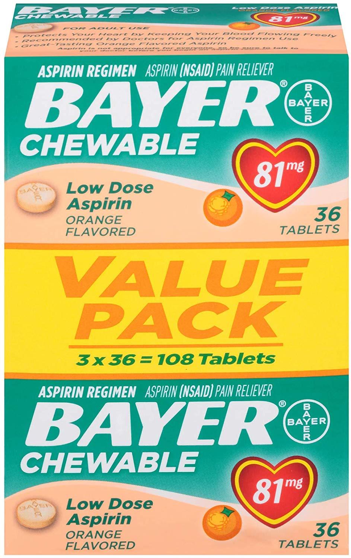 108-Ct. Bayer 81mg Chewable Tablets Aspirin Regimen $4.04 5% or $3.41 15% AC w/s&s
