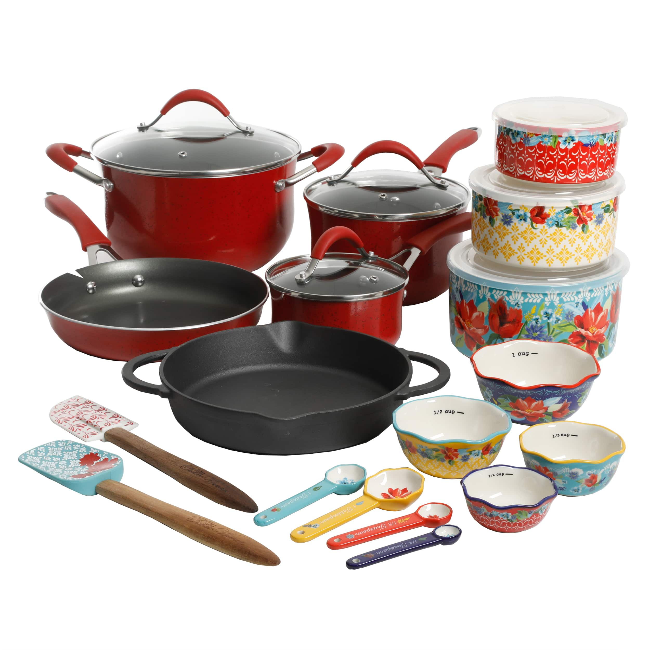 24-Piece The Pioneer Woman Frontier Speckle Cookware & Food Storage Combo Set - $59.00 - Walmart - Free Ship