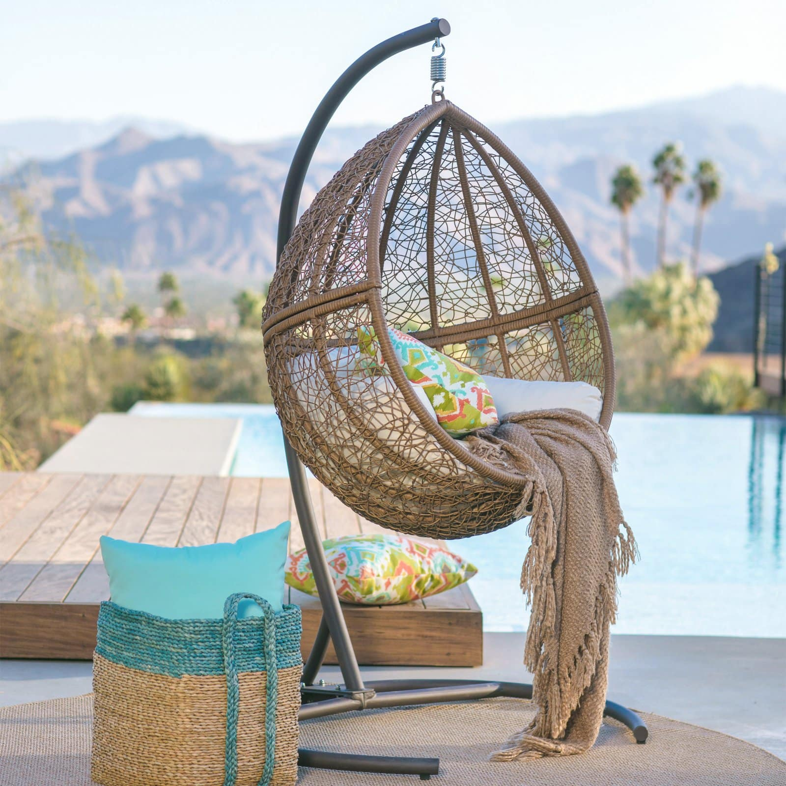 Belham Living Tanna Tear Drop Resin Wicker Hanging Egg Chair with Cushion and Stand $199.99 - Walmart