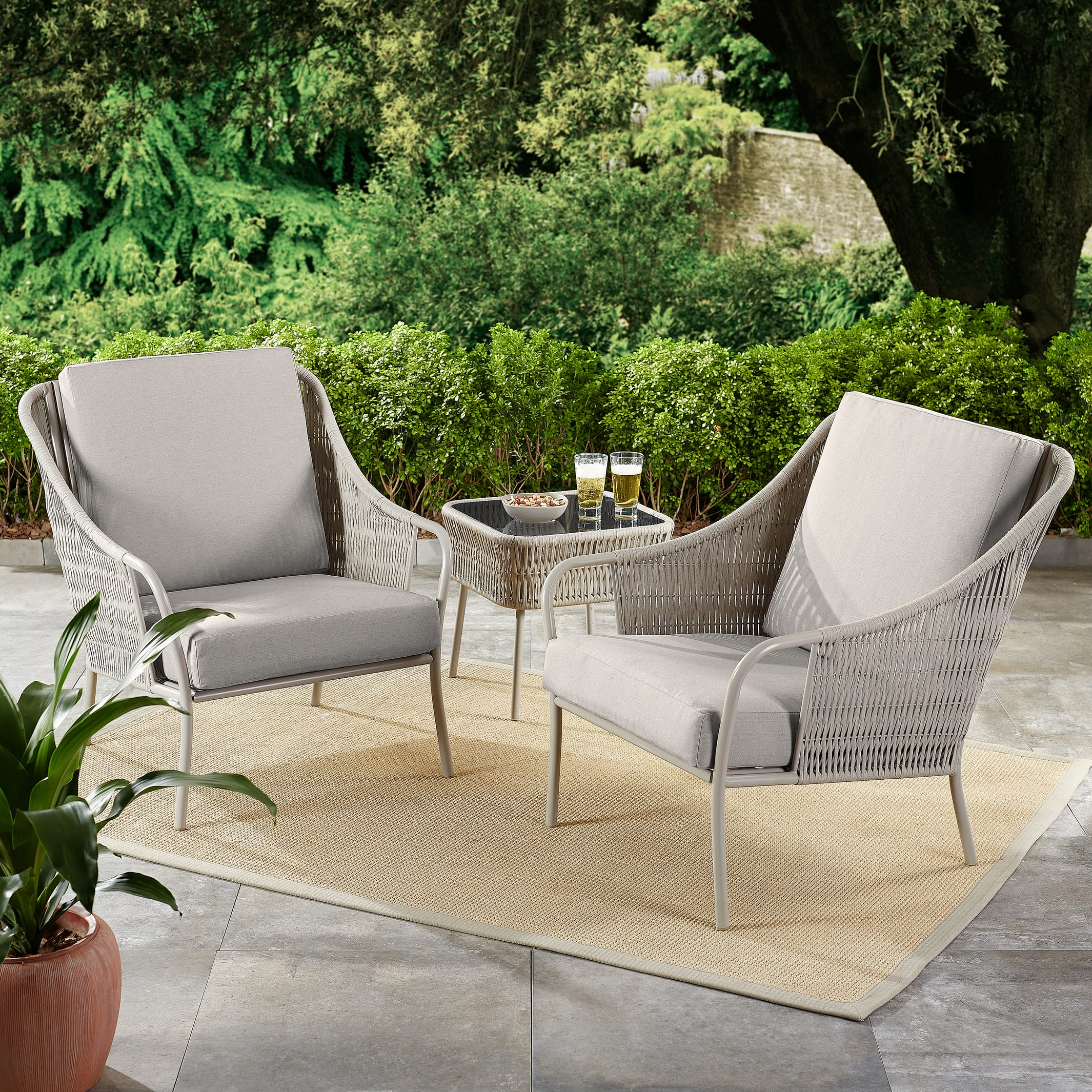3-Piece Better Homes & Gardens Palomar Patio Woven Chat Set with Gray Cushions $129.97 - Walmart +Free Ship