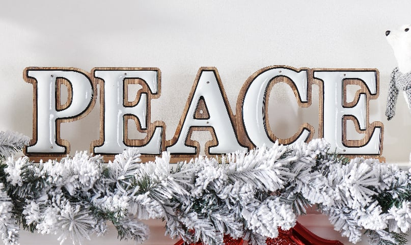 """24"""" Holiday Time Peace Sign Table-Top Christmas Decoration $3.75 & More - Walmart"""
