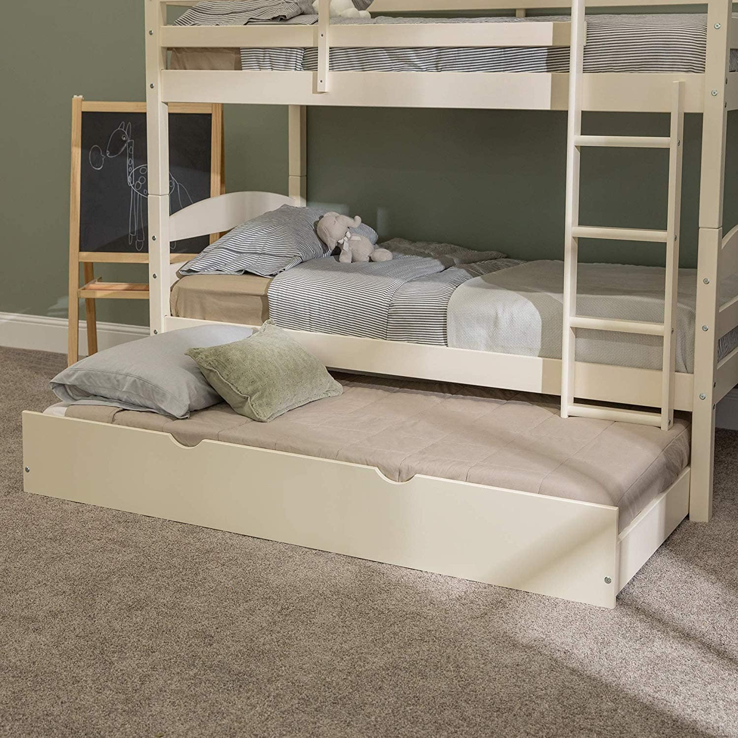 """Twin """"Trundle"""" Solid Wood Kids Bed Frame With Wheels (White) $116.00 - Amazon"""
