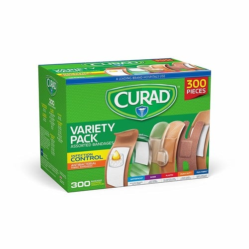 300-Pce. Curad Assorted Bandages Variety Pack (Antibacterial, Heavy Duty, Fabric, Waterproof) $8.49 5% AC w/s&s