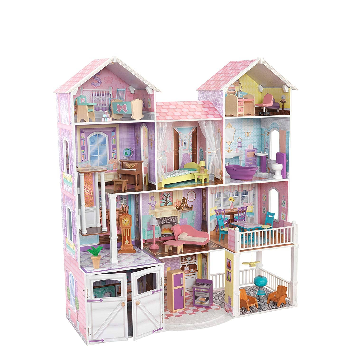 """53"""" KidKraft Country Estate Wooden Dollhouse for 12"""" Dolls with 31 Piece Accessories $71.72 Target w/REDcard Free Ship"""