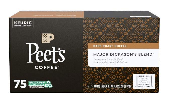 75-Count Peet's Coffee Major Dickason's Blend K-Cups (Dark Roast) $28.24 5% or $24.74 15% AC w/s&s