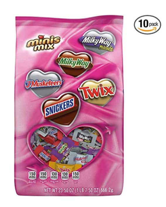10-Pack? of 23.50oz. SNICKERS, TWIX, MILKY WAY & 3 MUSKETEERS Valentine's Day Chocolate Candy Minis Mix $13.78 - Amazon