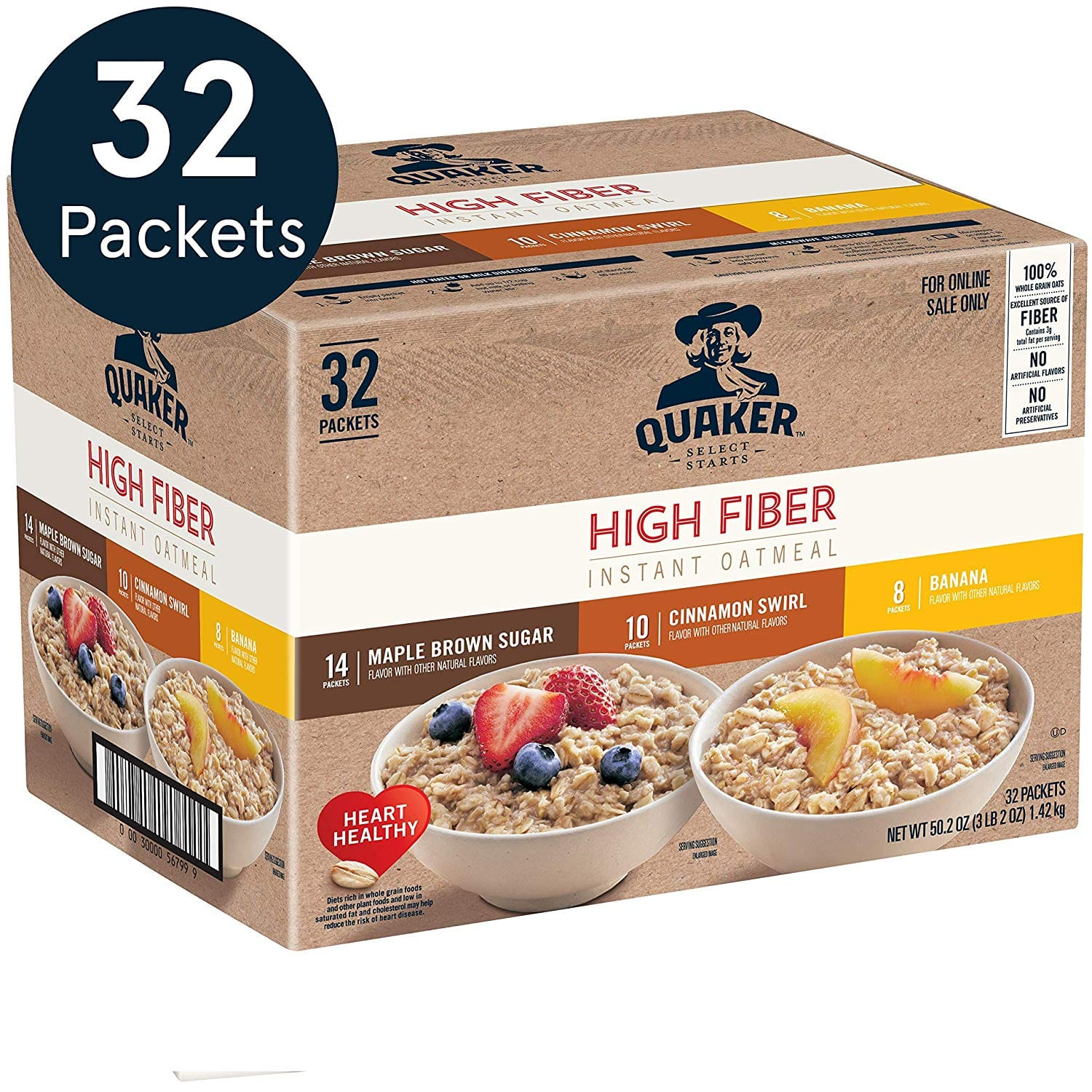 32-Count Quaker High Fiber Instant Oatmeal (3-Flavor Variety Pack) $11.90 w/ S&S + Free S/H