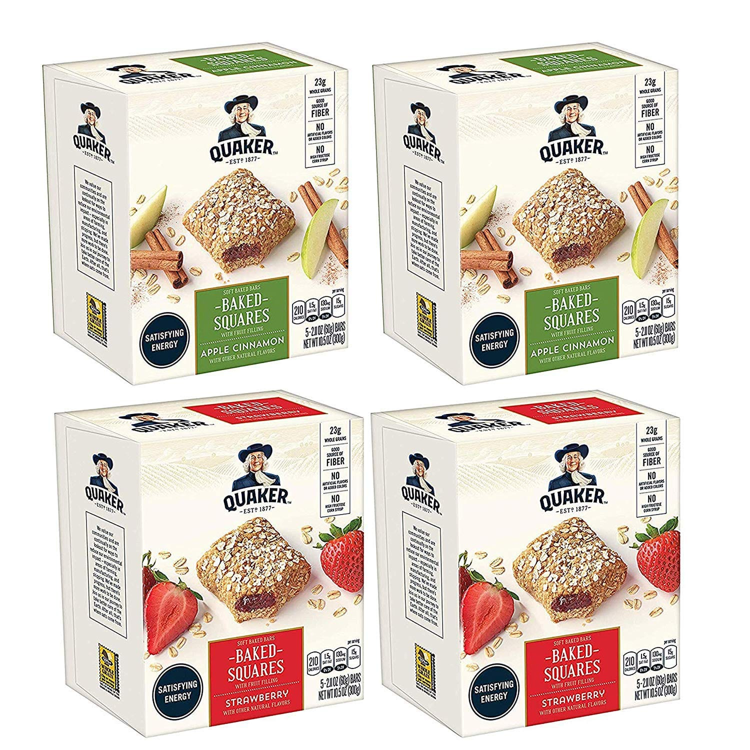 4-Pack of 5-Count Quaker Baked Squares (Apple Cinnamon & Strawberry) $7.50 w/ S&S + Free S&H