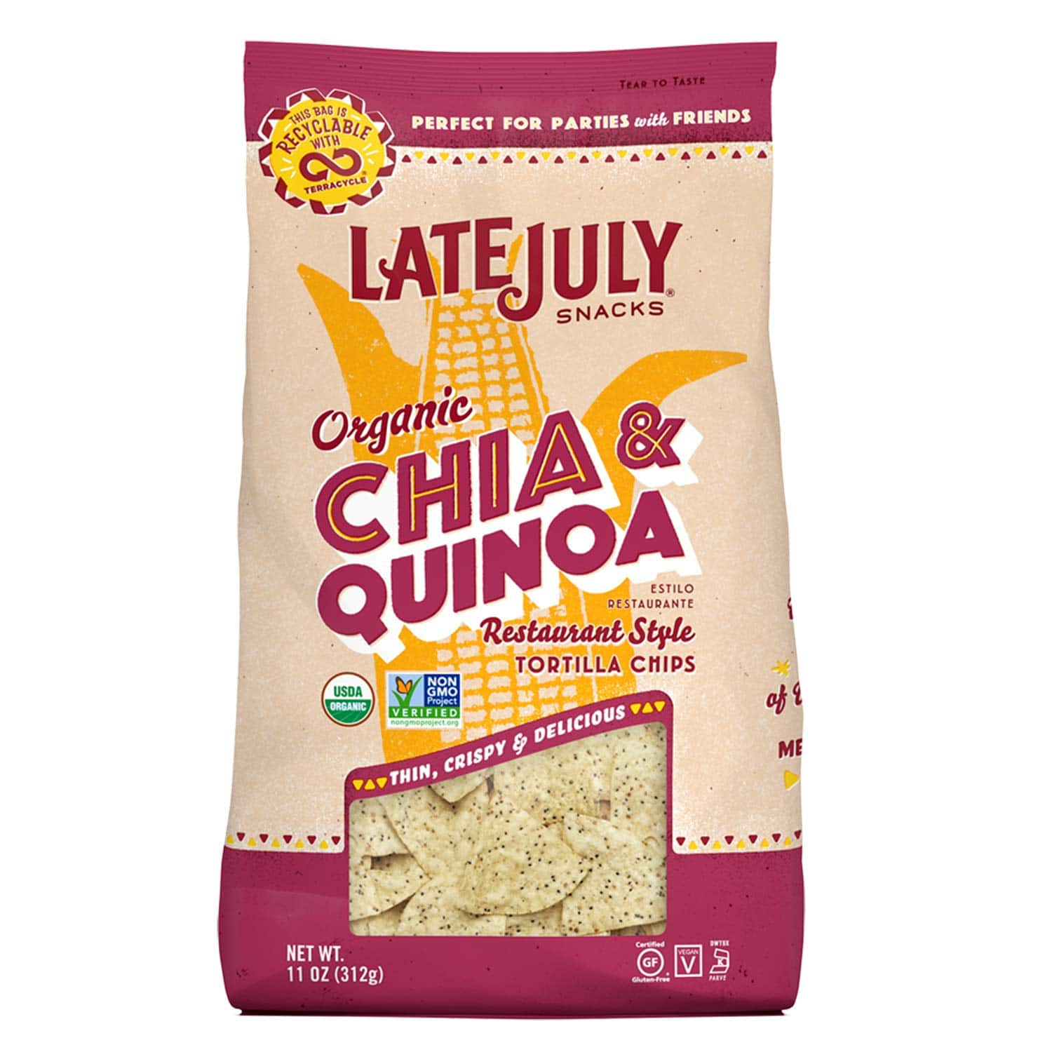 9-Count 11 oz. Late July Snacks Restaurant Style Chia & Quinoa Tortilla Chips $25.96 or Less AC w/s&s & MORE