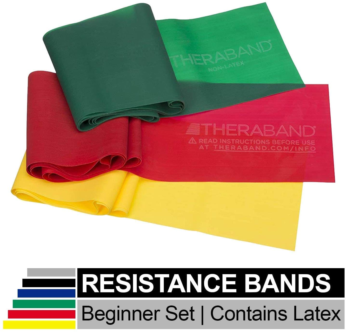 TheraBand Resistance Band Set (Professional Elastic Bands for Upper & Lower Body & Core Exercise) $8.38 & More - Amazon