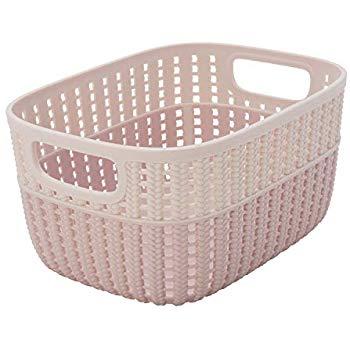 Simplify 2 Tone Decorative Storage Tote Basket (Blush) $4.66 - Amazon