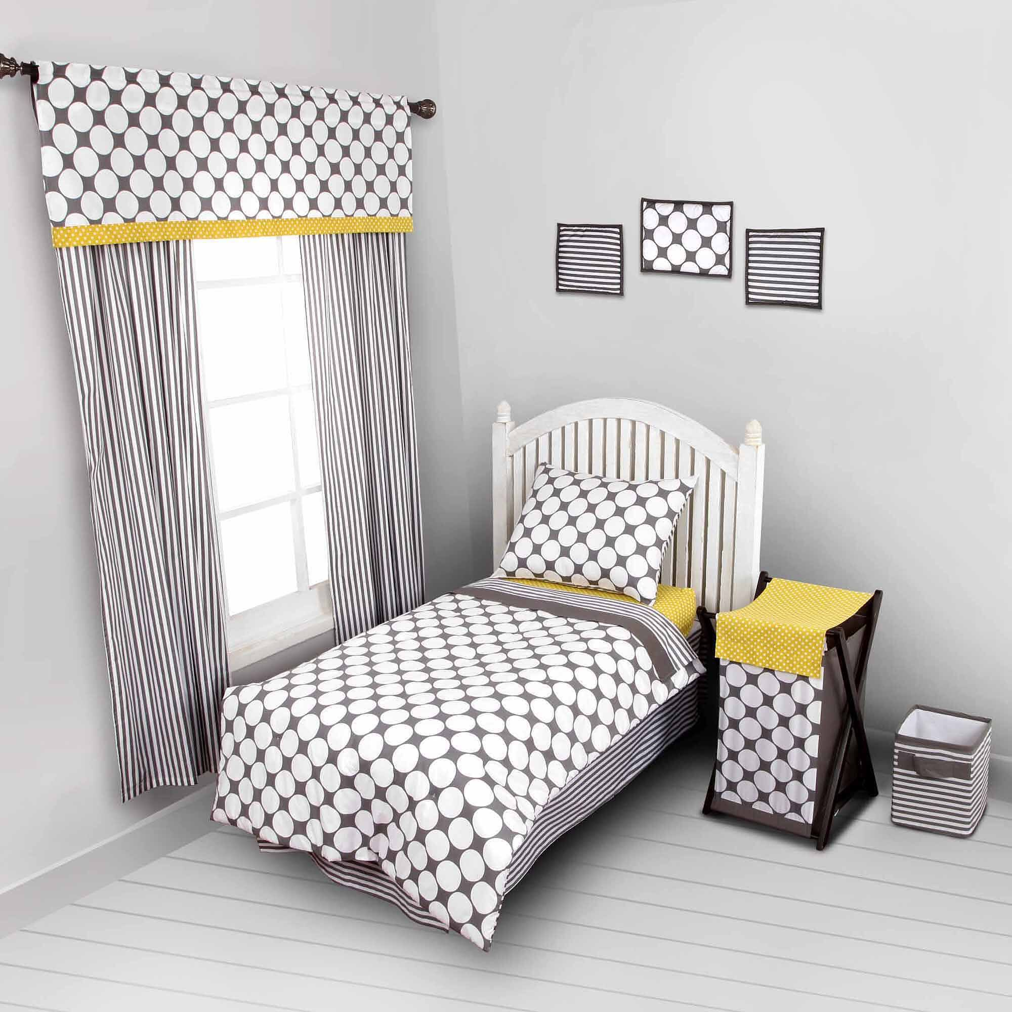 Bacati - Dots/pin Stripes Grey/Yellow 4 Pc Toddler Bedding Set $19.99 - Walmart.com
