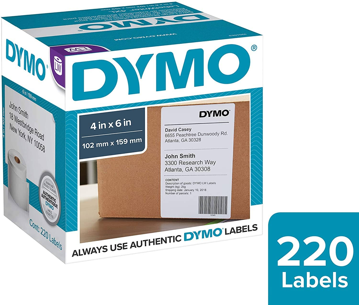 """220 Labels 4x6"""" DYMO LabelWriter Shipping Labels #1744907 OEM $18.89 w/s&s & More"""