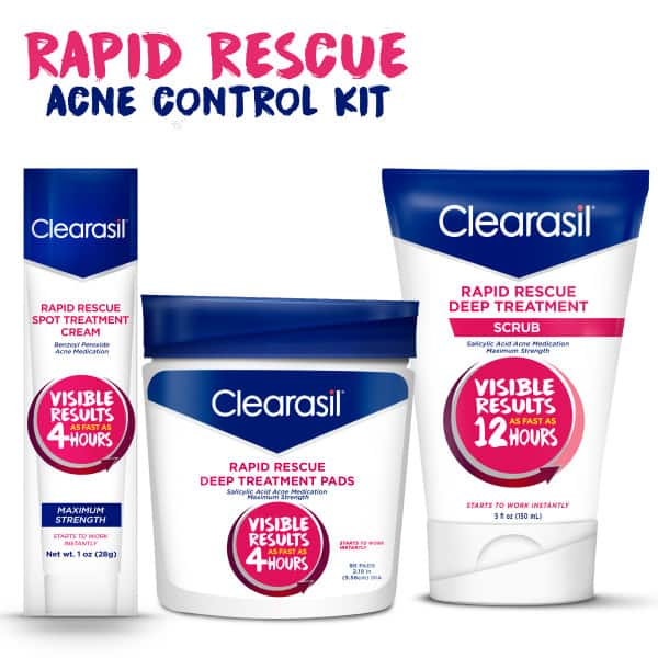 Clearasil Acne Control Kit: Deep Treatment Cleansing Pads, Deep Treatment Scrub & Spot Treatment Cream $15.73 - Walmart