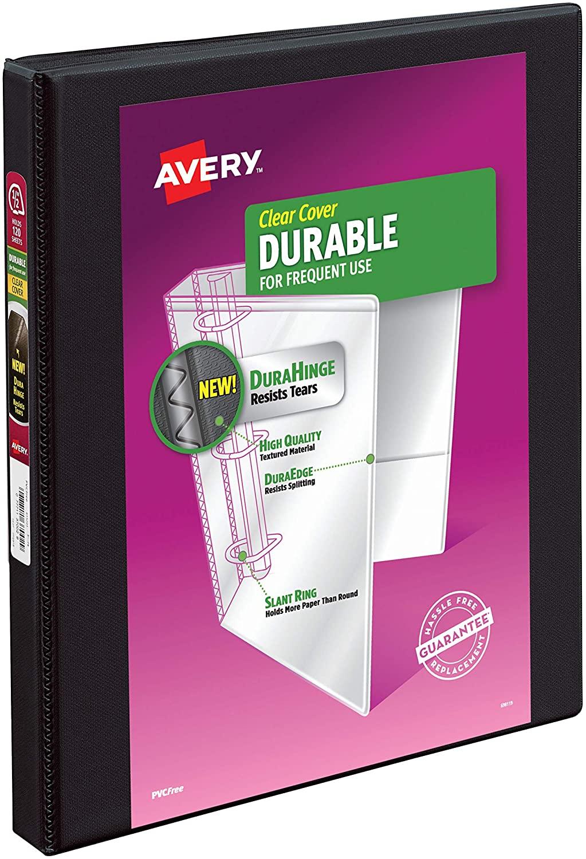 Avery 17001 Durable View Binder w/Slant Rings, 11 x 8 1/2, 1/2 inch, Black $1.27 - Amazon / Walmart