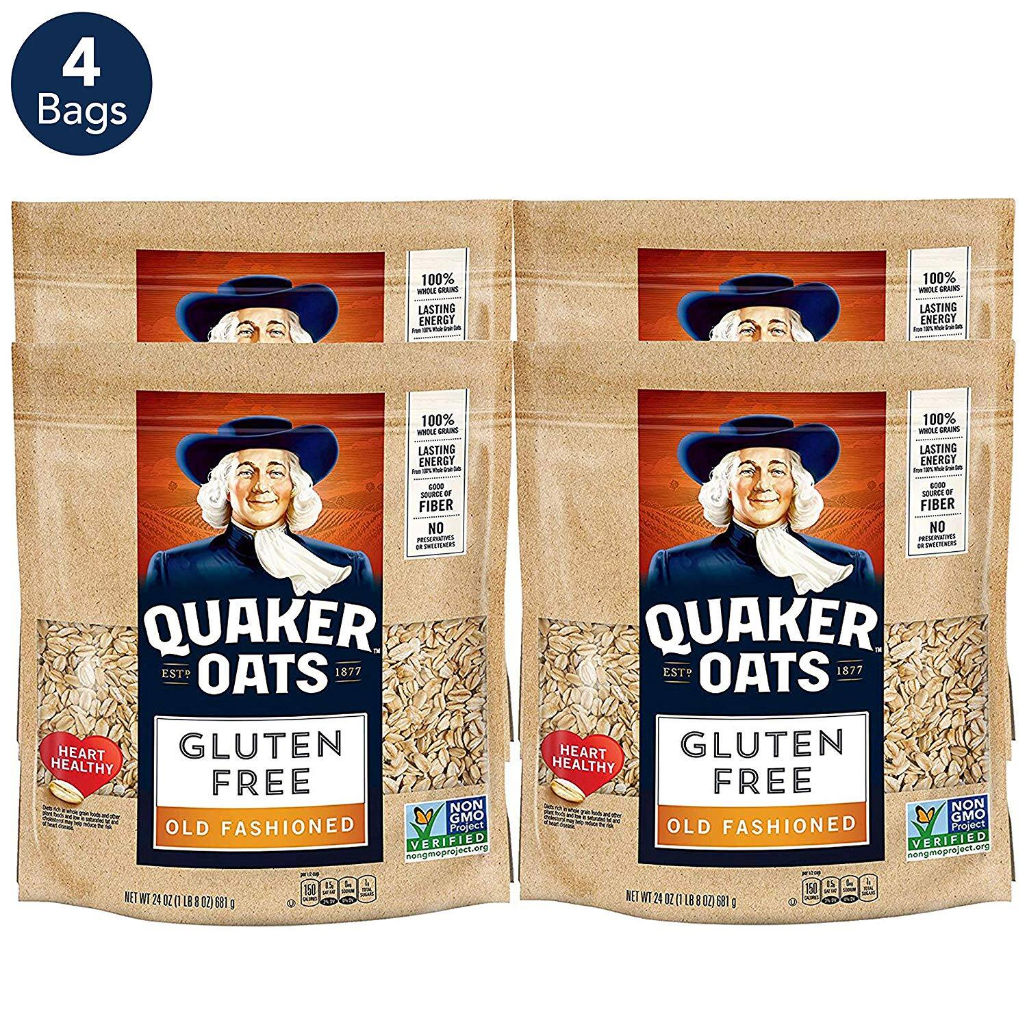 4-Ct. 24oz. ea. Quaker Gluten Free Old Fashioned Rolled Oats $13.99 5% or $11.99 15% AC w/s&s