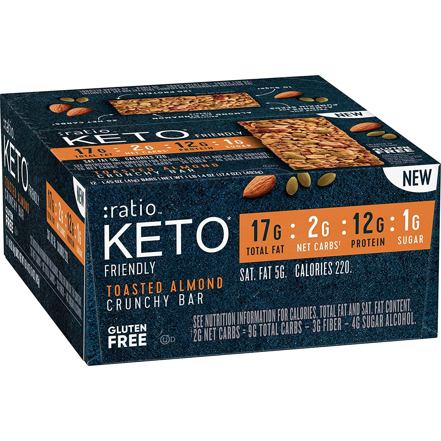 12ct. :ratio KETO friendly Protein Bar - Lemon Almond or Toasted Almond Crunchy Bar $19.43 or Less AC w/s&s
