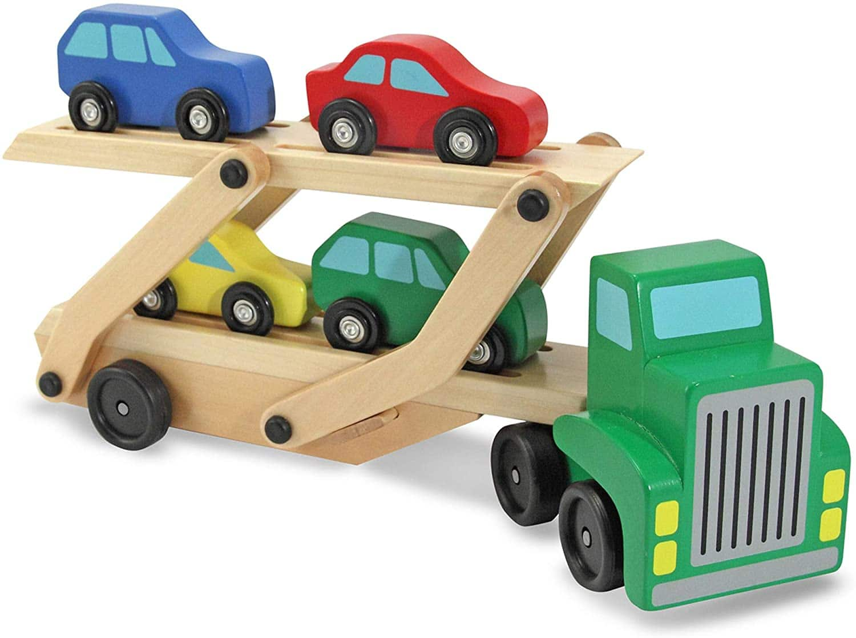 Melissa & Doug Car Carrier Truck & Cars Wooden Toy Set $12.10 - Amazon