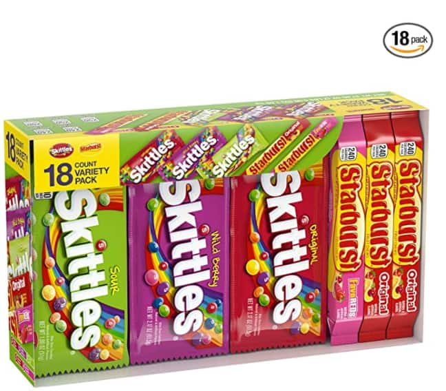18-Ct. Skittles & Starburst Fruity Candy, Full Size Variety Mix Box, 37.05 Ounce $11.92 - Amazon