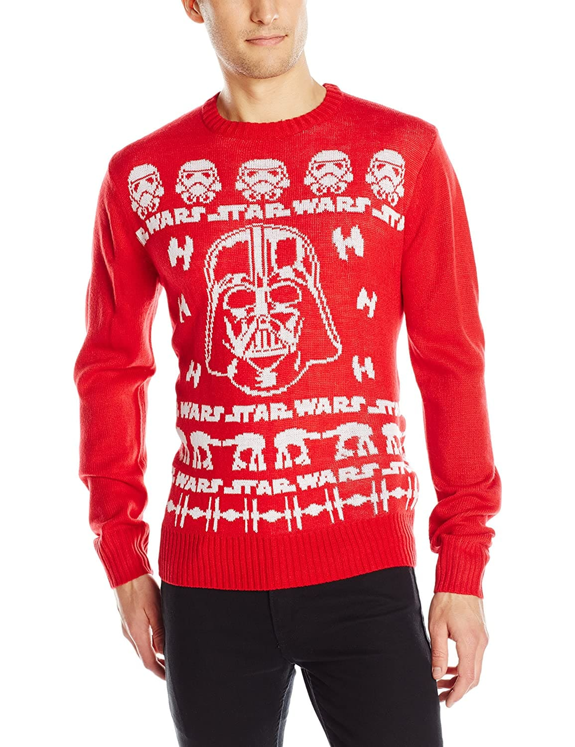 Star Wars Men's Ugly Christmas Sweater (LGE. Red) $4.74 | (LGE Black) $5.14 - Amazon