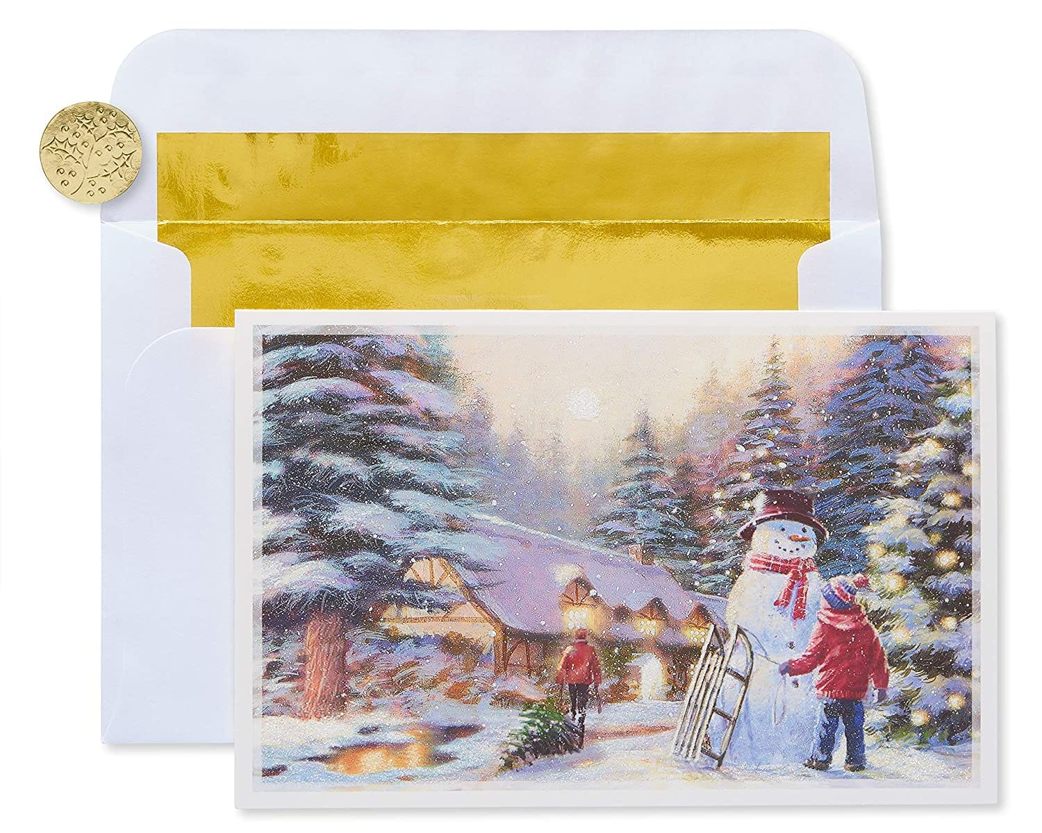14-Ct. American Greetings Premium Gold Foil-Lined Kids and Snowman Christmas Boxed Cards $6.16 & More - Amazon