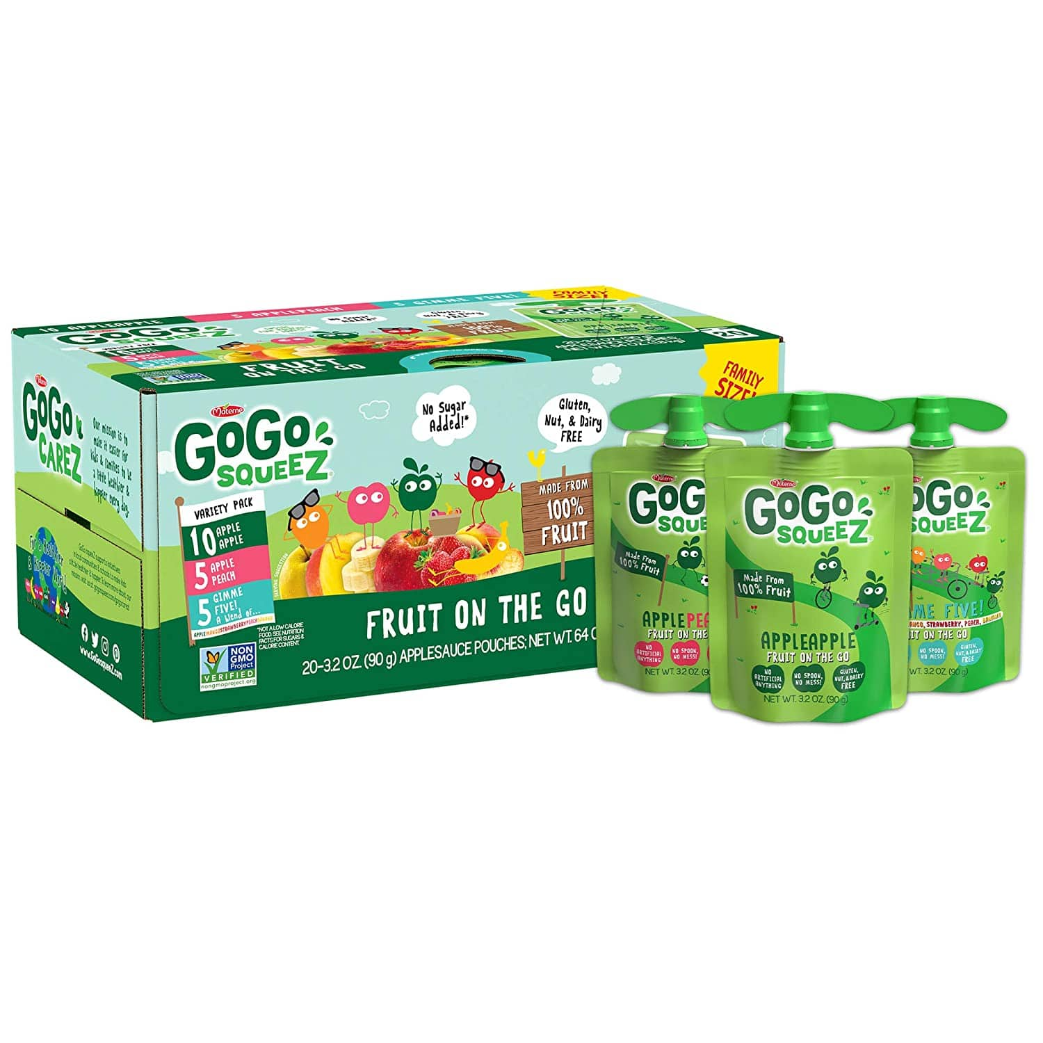 20-Count 3.2-Oz GoGo squeeZ Applesauce Variety Pack (Apple/Peach/GIMME 5) $8.29 5% AC w/s&s