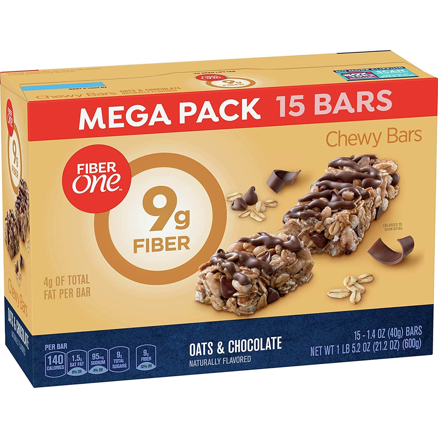 15-Count 1.4-Oz Fiber One Chewy Bars Mega Pack (Oats and Chocolate) $4.57 w/s&s