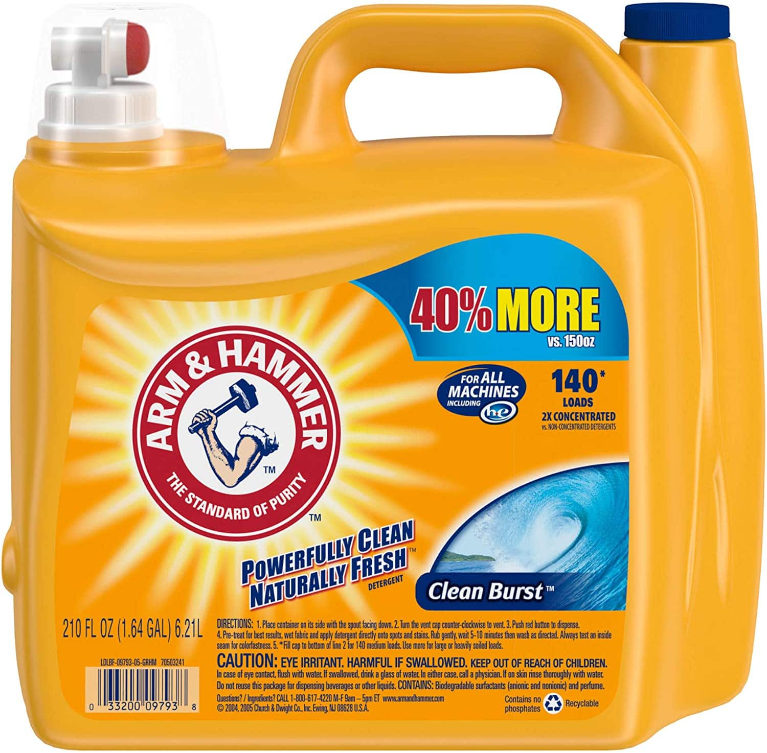 210-Oz Arm & Hammer Liquid Laundry Detergent (Clean Burst) $8.75 - Amazon