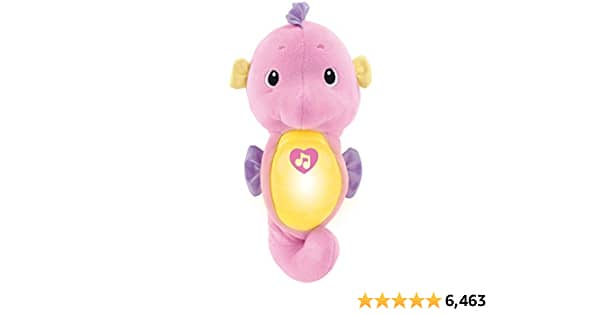 Fisher-Price Soothe & Glow Seahorse, pink, plush toy with music, ocean sounds and lights for baby - $5.99