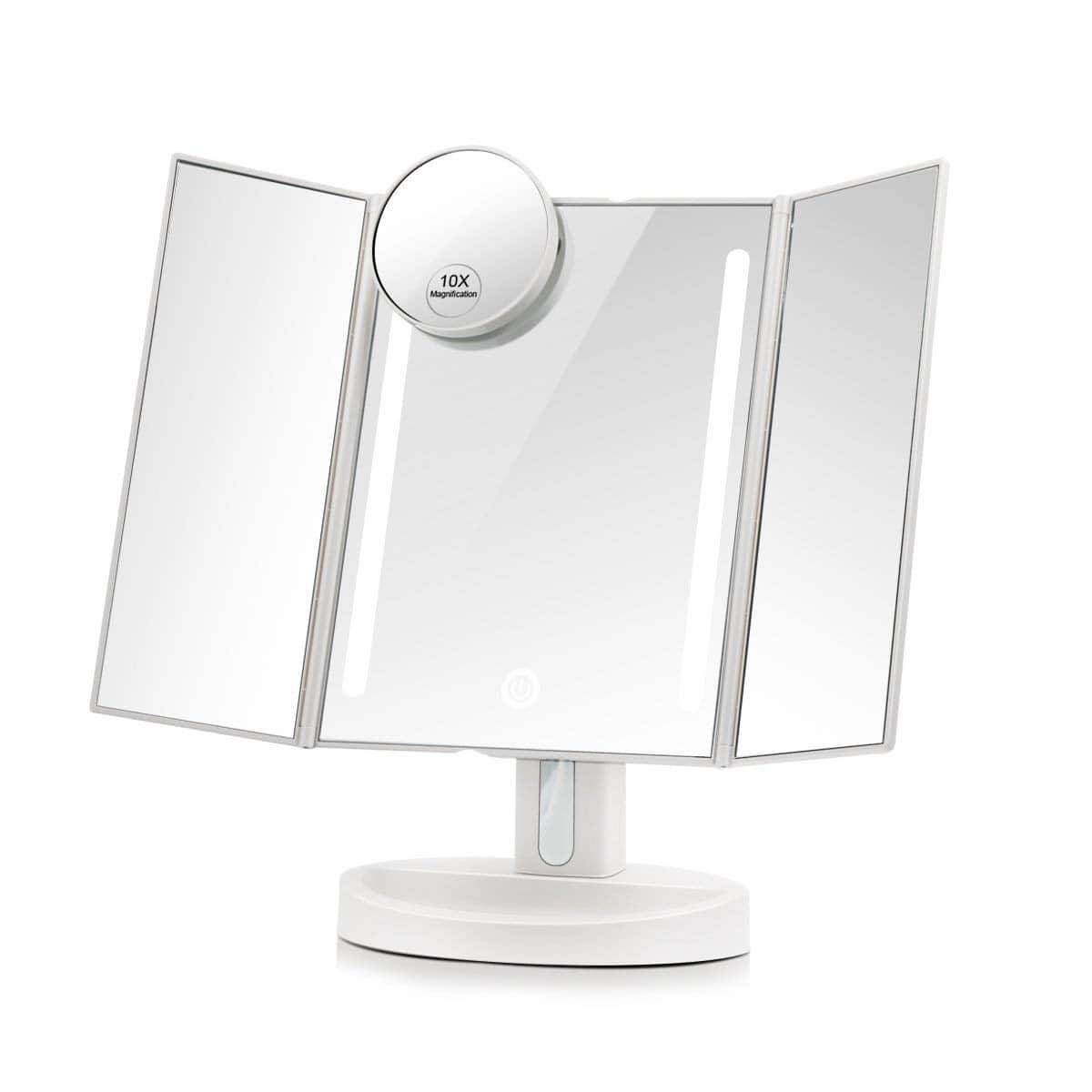 41% off Led Lighted Makeup Mirror: Touchscreen Trifold with 10X Magnification  $12.97 AC + FS