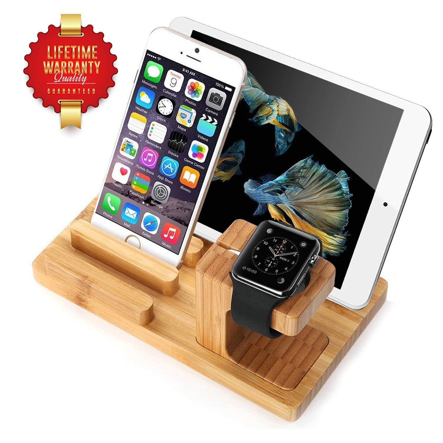 Bamboo Wood Charging Dock Stands for iPhone, apple watch, ipad, amazon echo etc- 50% off - Amazon $8.49