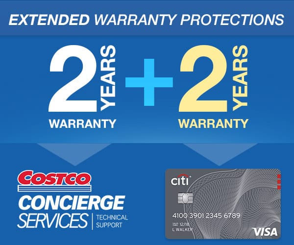 Costco extended warranty up to 4 years with Citi Visa