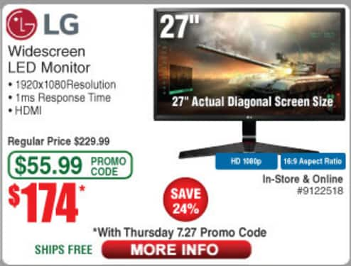 """LG 27MP59G-P 27"""" IPS FreeSync Monitor, 1ms Response Time, 75Hz Refresh Rate, $174.00 (w/emailed code)"""