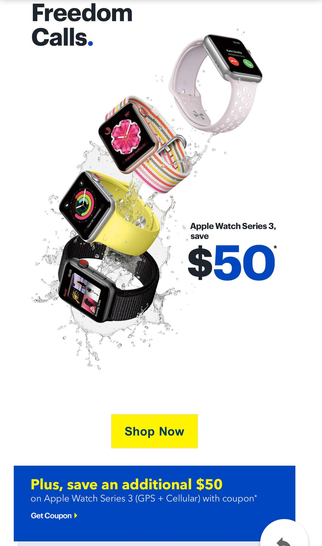ad6312b3f998d Apple Watch Series 3 (GPS + Cellular) Additional  50 off with Best Buy  emailed Coupon (see screenshot)  299 - Slickdeals.net
