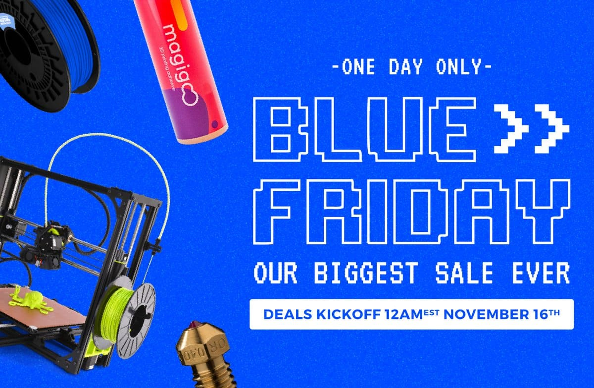 Matterhackers.com 3D Printing Blue Friday 1 Days Sale on 3D printers and filament