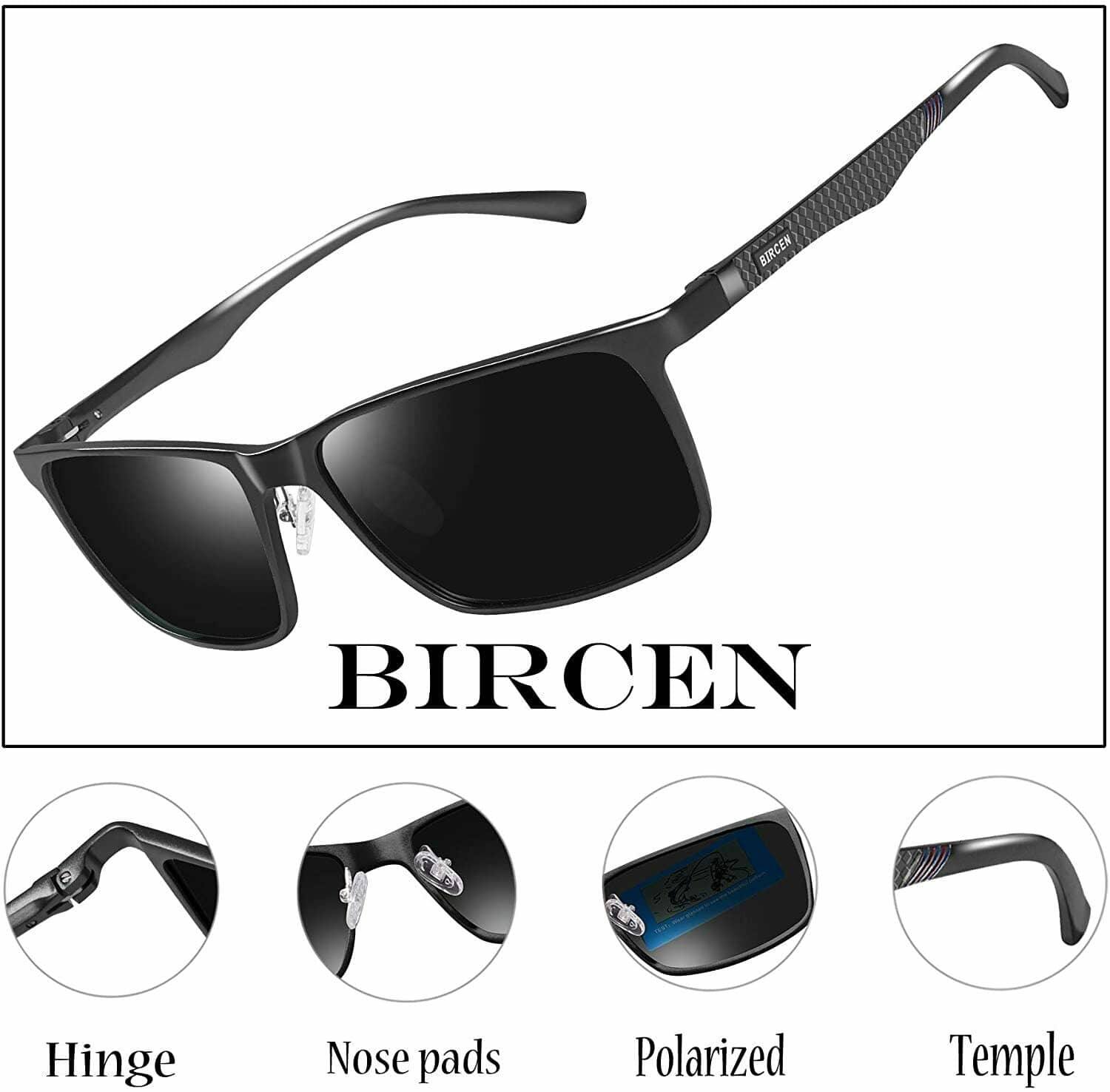 Bircen Mens Polarized Driving Sunglasses 50% off with coupon. $12.50 end price