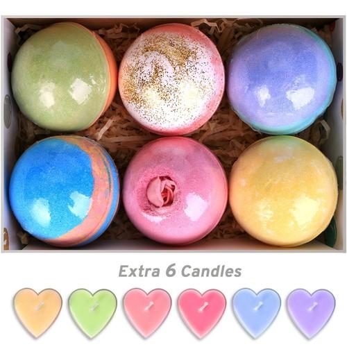 6 Bath Bombs Gift Set Huge 5 Oz Bath Bombs, Natural Vegan and Handmade, and 6 Candles @ Amazon-  $9.99AC