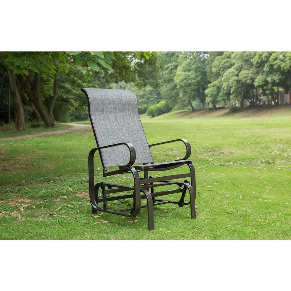 Grey Outdoor Patio Rocker Chair, Balcony Glider Rocking Lounge Chair, All Weatherproof- $44.81 @ Amazon