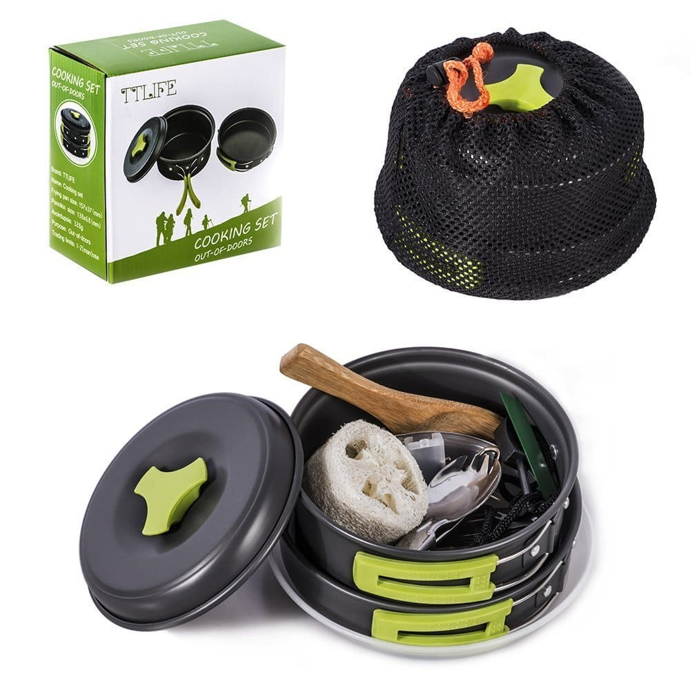 TTLIFE 12pc Camping Cookware Mess Kit, Bug Out Bag, Pot/Pan/Bowls with Free Folding Spork for $18.99 @ Amazon
