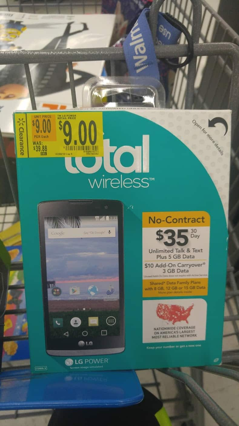Walmart B&M YMMV- Total Wireless LG Power Android Prepaid Smartphone $9