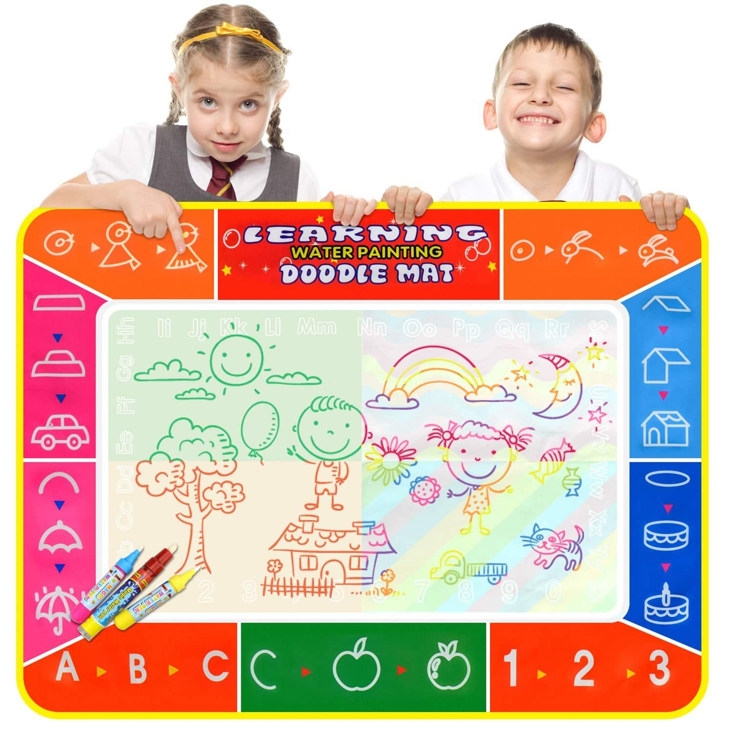Large Educational Painting and Writing Mat with 3 Water Pens- $9.85 FS w/Prime