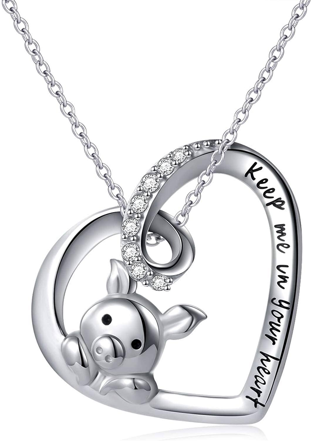 Sterling Silver Engraved 'Keep Me in Your Heart' Pig Pendant Necklace- $16.99 FS w/Prime
