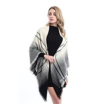 Women's Fashion Soft Plaid Blanket Scarf Stylish Cozy Tartan Scarves Winter Warm Long Large Elegant Wrap Shawl for Beige and Black Plaid for $6.99
